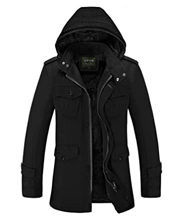 1d09998af Cresay Men's Long Hooded Thick Trench Coat Winter Outwear Jackets Padded  Jacket