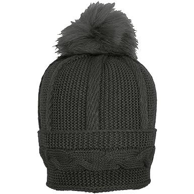 bbdcd8af43c TeddyT s Women s Cable Knit Winter Bobble Hat with Detachable Pom Pom (Black )