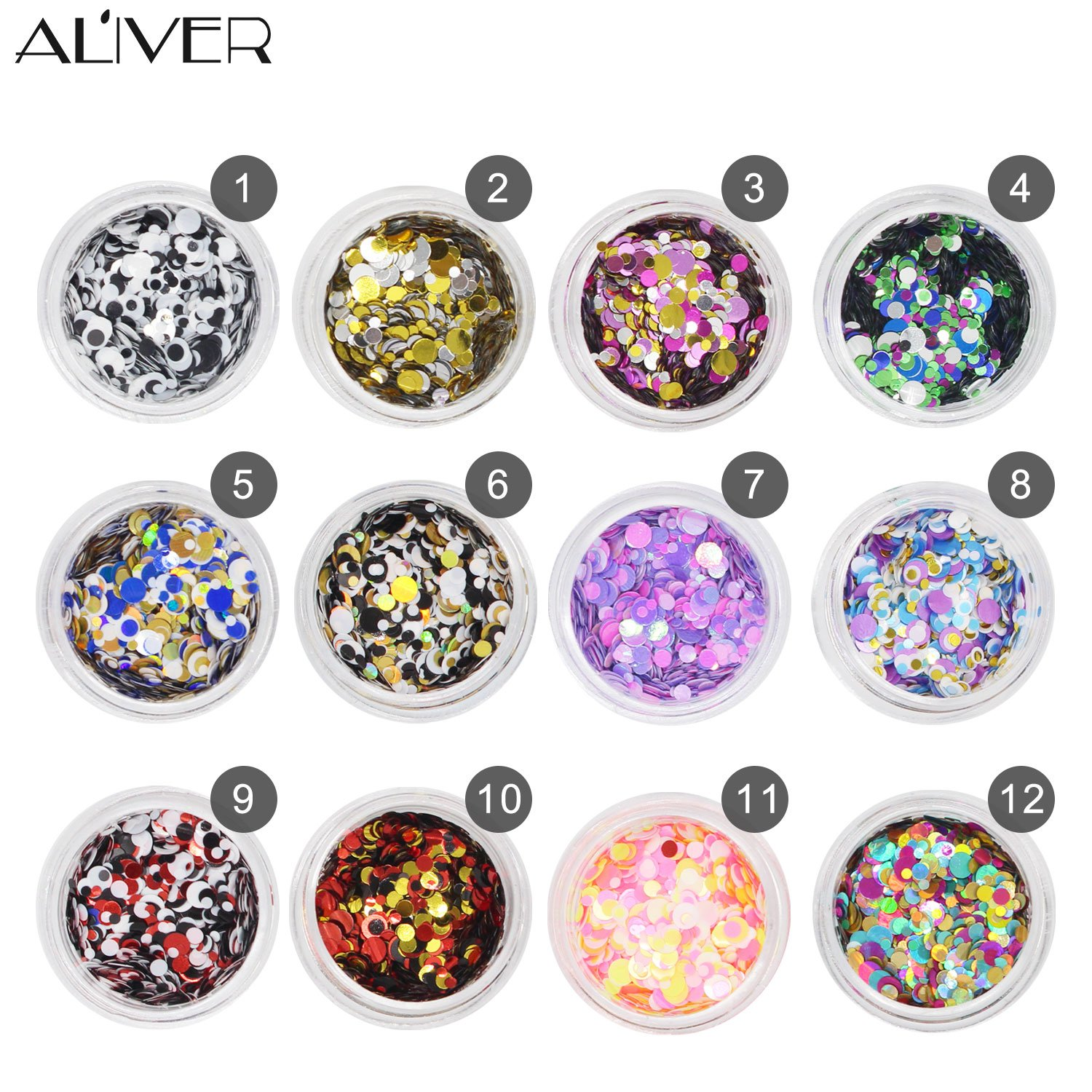 Aliver Sequins del chiodo del chiodo 12 colori UV Gel DIY Glitter Decorazione Nail Art Sequins Polvere Moulis