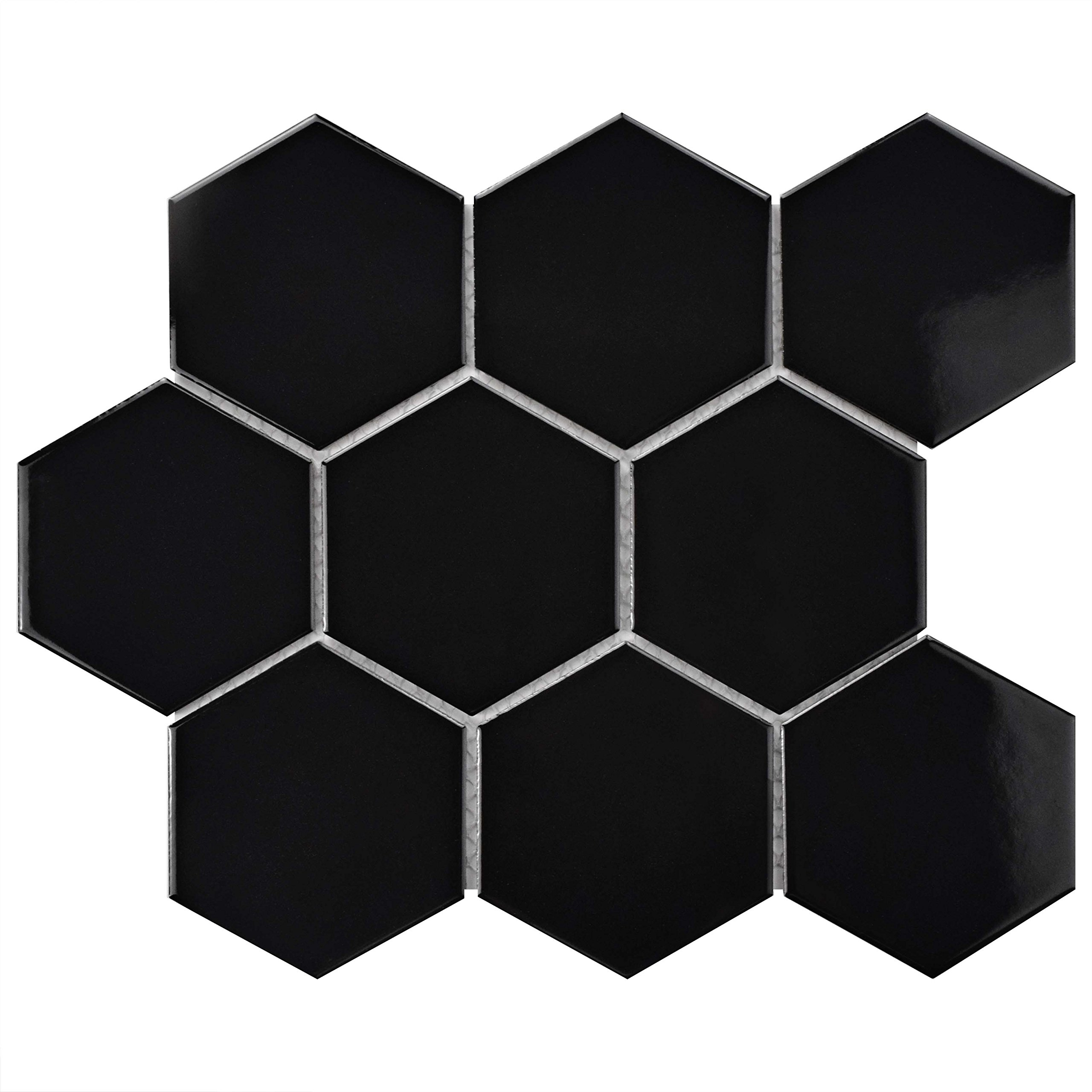 SomerTile FWRM4HGB Retro Super Hex Porcelain Mosaic Floor & Wall Tile, 10'' x 11.5'', Glossy Black, 10 Piece