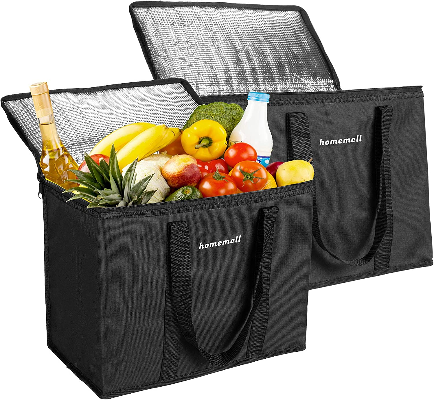 Homemell Insulated Shopping Bags for Groceries Food Large Cooler Bags Collapsible Soft Zippered Hot Food Delivery Bag Upgraded Fabric with Insulated Technology Reusable Family Grocery Food Shopping