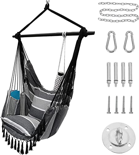 Project One Hanging Rope Hammock Chair with 2 Pillows - best indoor swings