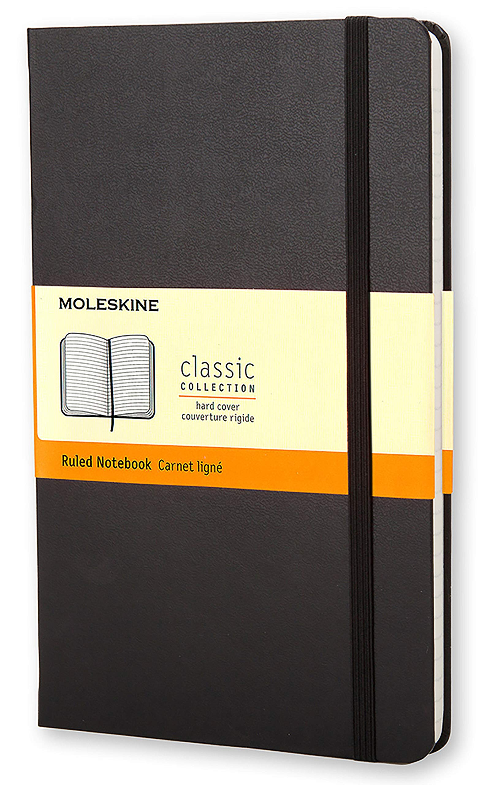 Moleskine Classic Notebook, Hard Cover, Large (5'' x 8.25'') Ruled/Lined, Black by Moleskine