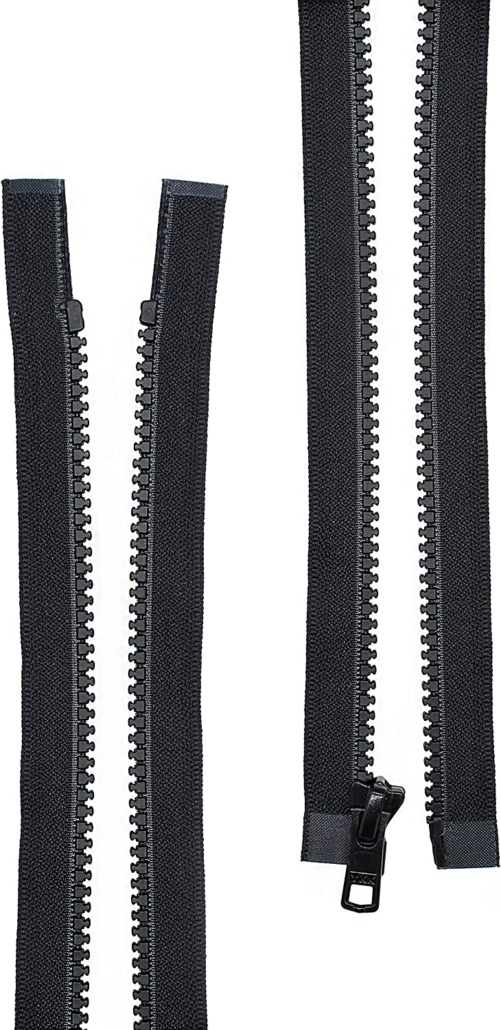 #5 Molded Black Plastic YKK Separating Zippers 7 Inches 2 Pieces Per Pack