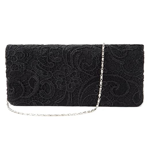 8dacae3f05 Image Unavailable. Image not available for. Color: Black White Navy Blue  Floral Lace Evening Party Clutch Bag Bridal ...