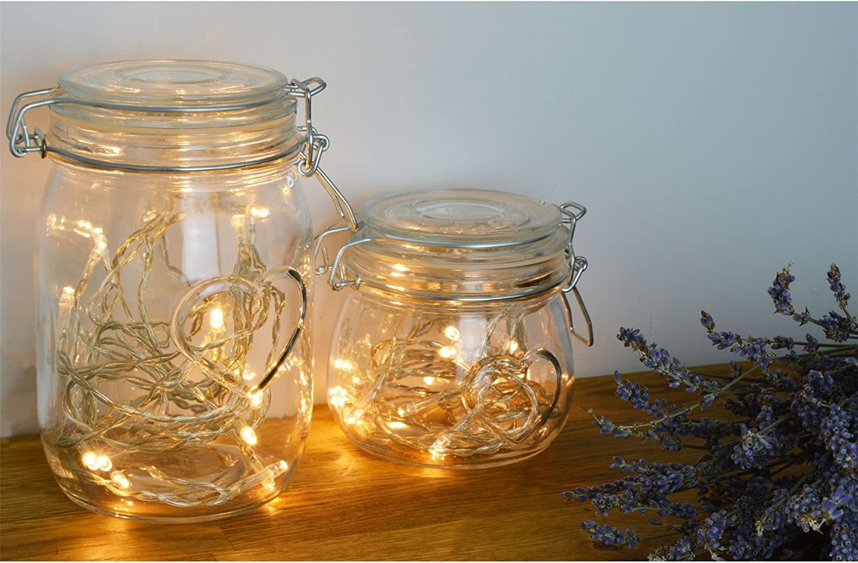 Nicola Spring Heart Glass Storage Jar with Airtight Clip Lid Clear Seal 500ml