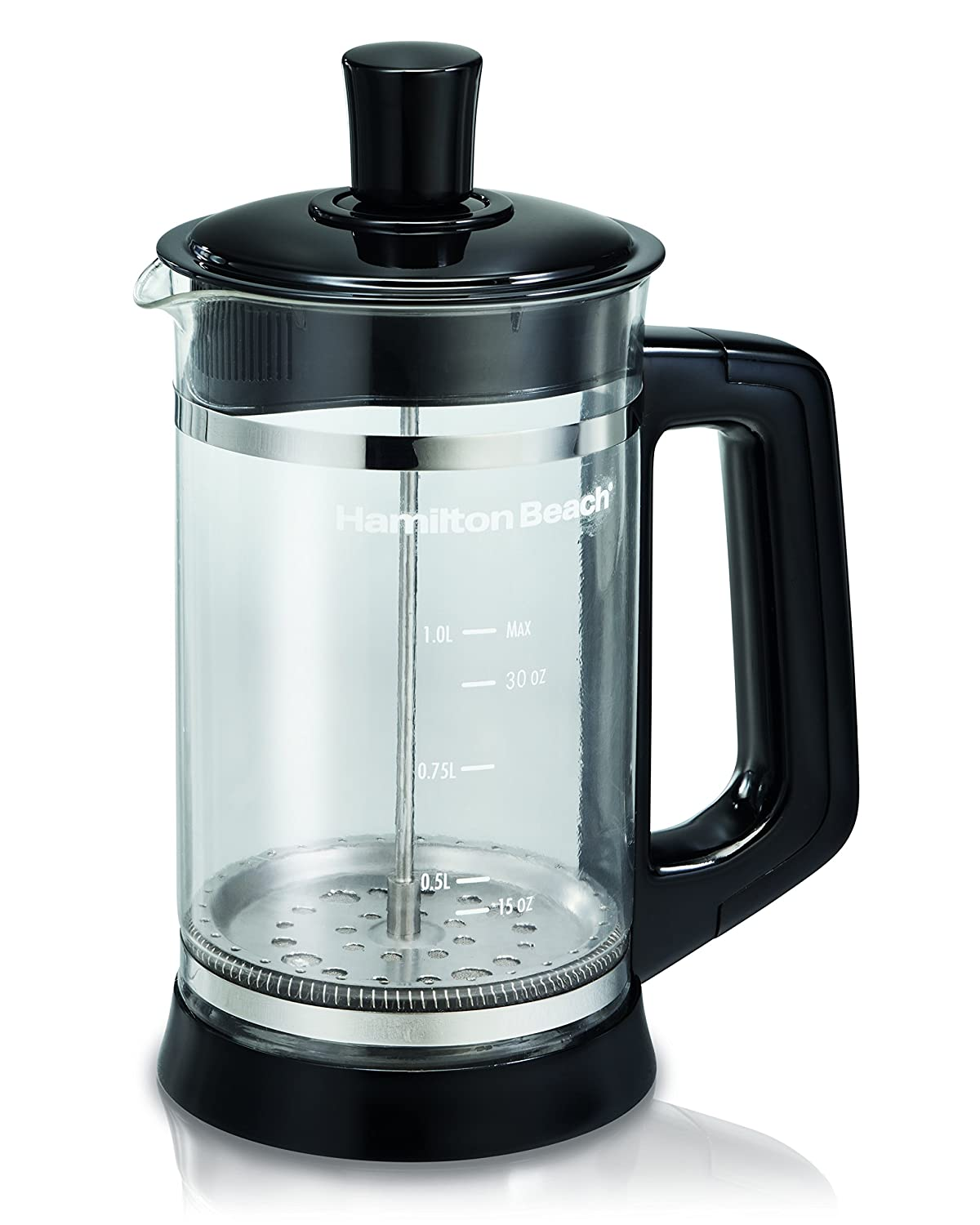 A Clear Hamilton Beach 809392592281 40400 French Press with Cocoa Attachment