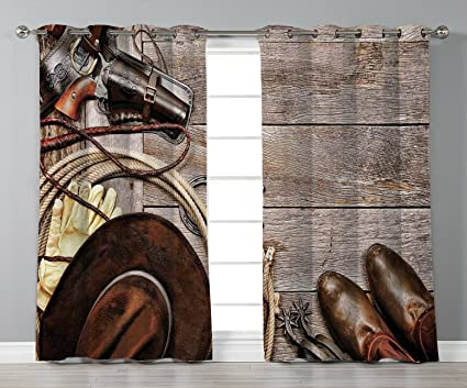 IPrint Satin Grommet Window CurtainsWesternAmerican Legend Cowboy Ranching Gear Retro Gun In