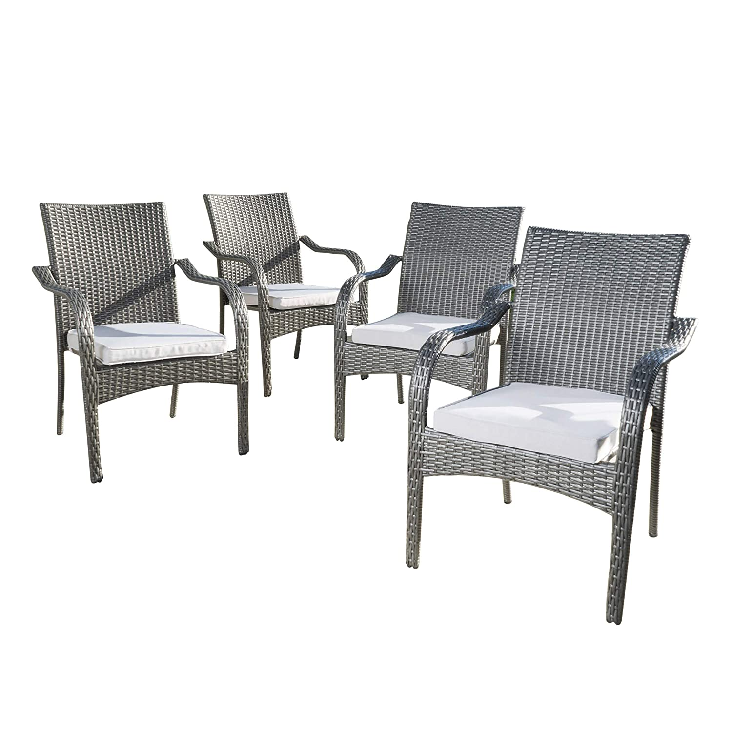 Amazon com gdf studio san miguel wicker stacking outdoor dining chairs set of 4 perfect for patio grey garden outdoor