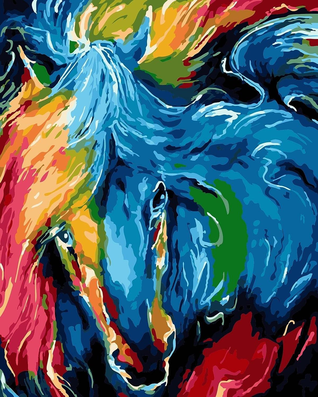 Abstraktes Pferd 40*50 cm Golden maple DIY Vorgedruckt Leinwand-/Ölgem/älde Geschenk f/ür Erwachsene Kinder Malen Nach Zahlen Kits Mit Holzrahmen Home Haus Dekor