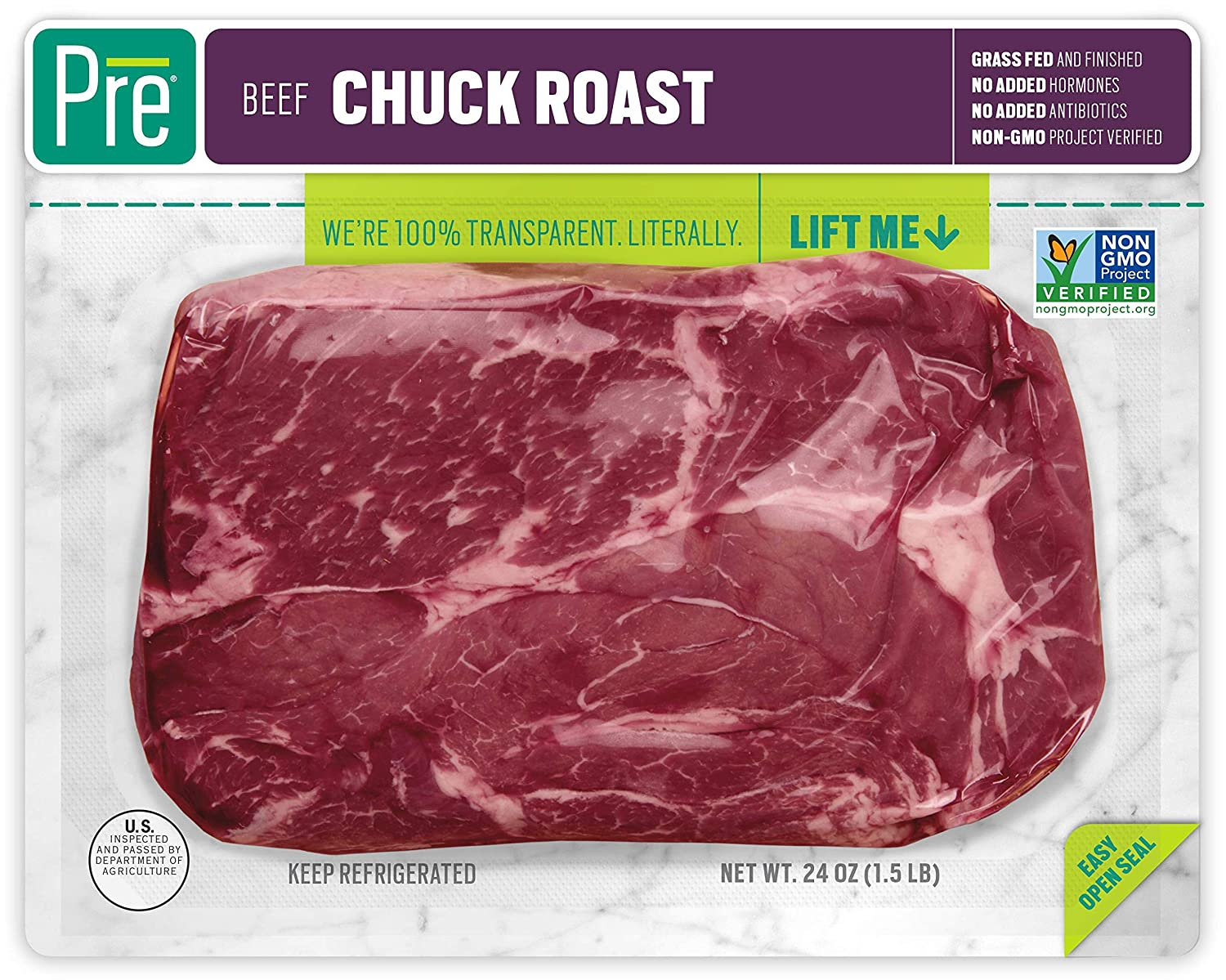 Pre, Chuck Roast – 100% Grass-Fed, Grass-Finished, andPasture-Raised Beef – 24oz.