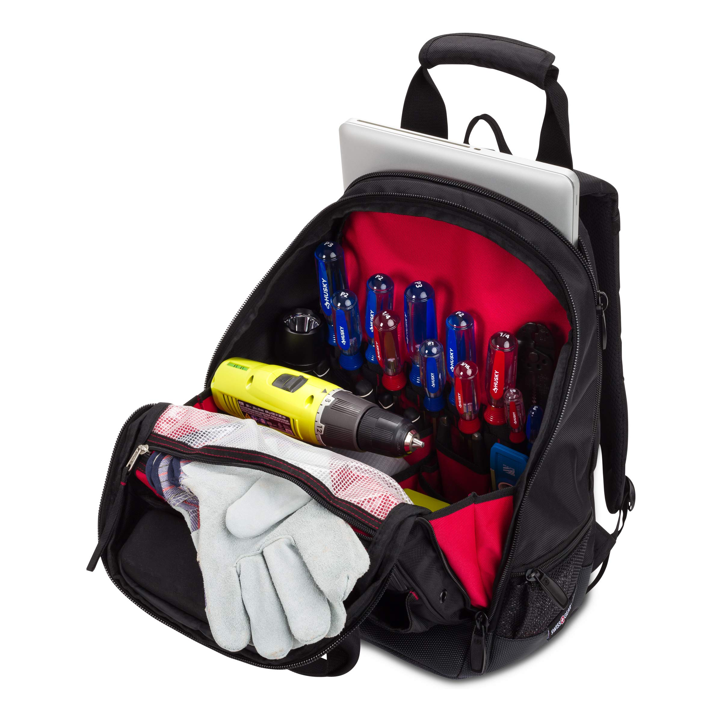 SWISSGEAR 2767 Large Durable Work Pack Tool Backpack With Padded Laptop Compartment | Tool Storage, Part Organization, Wet/Dry Pocket - Black by SwissGear (Image #8)