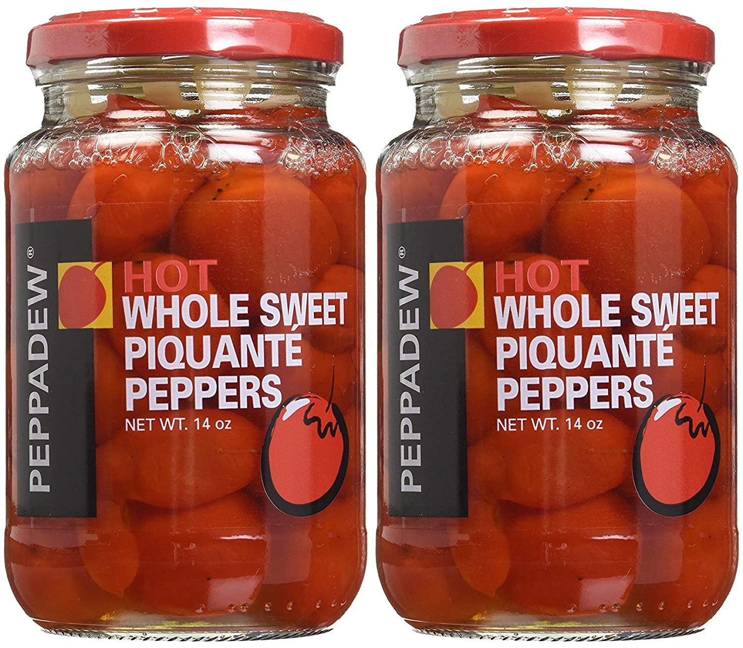 Peppadew HOT Whole Sweet Piquante Peppers, 14 oz Jar (Pack of 2, Total of 28 Oz)