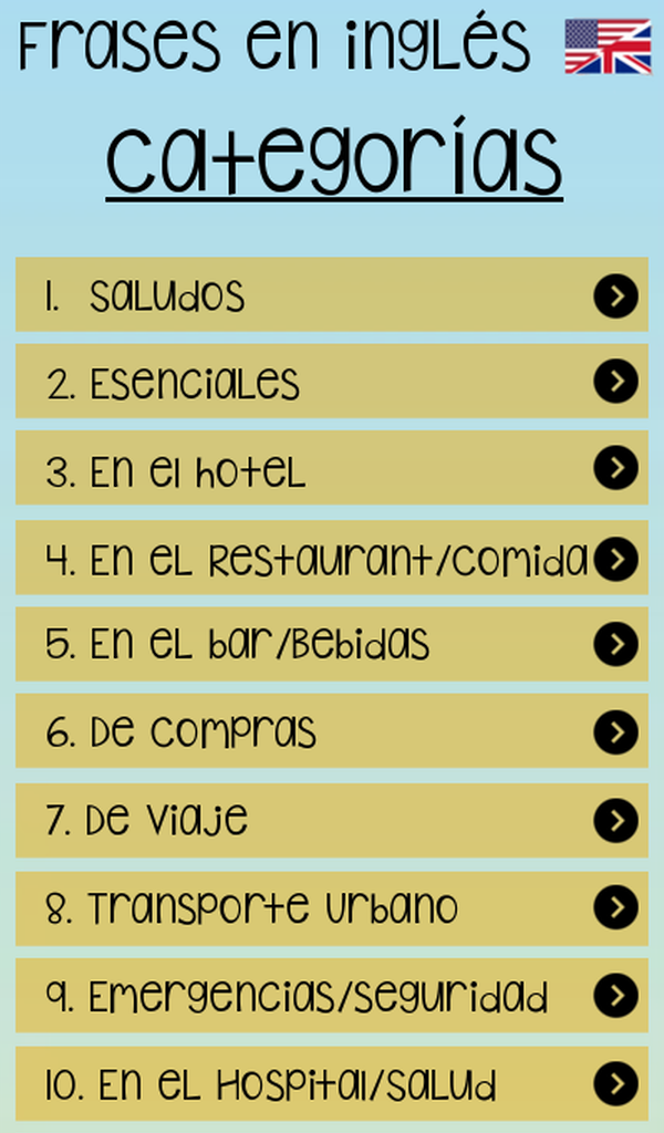 Amazoncom Frases En Inglés Para Viajeros Appstore For Android