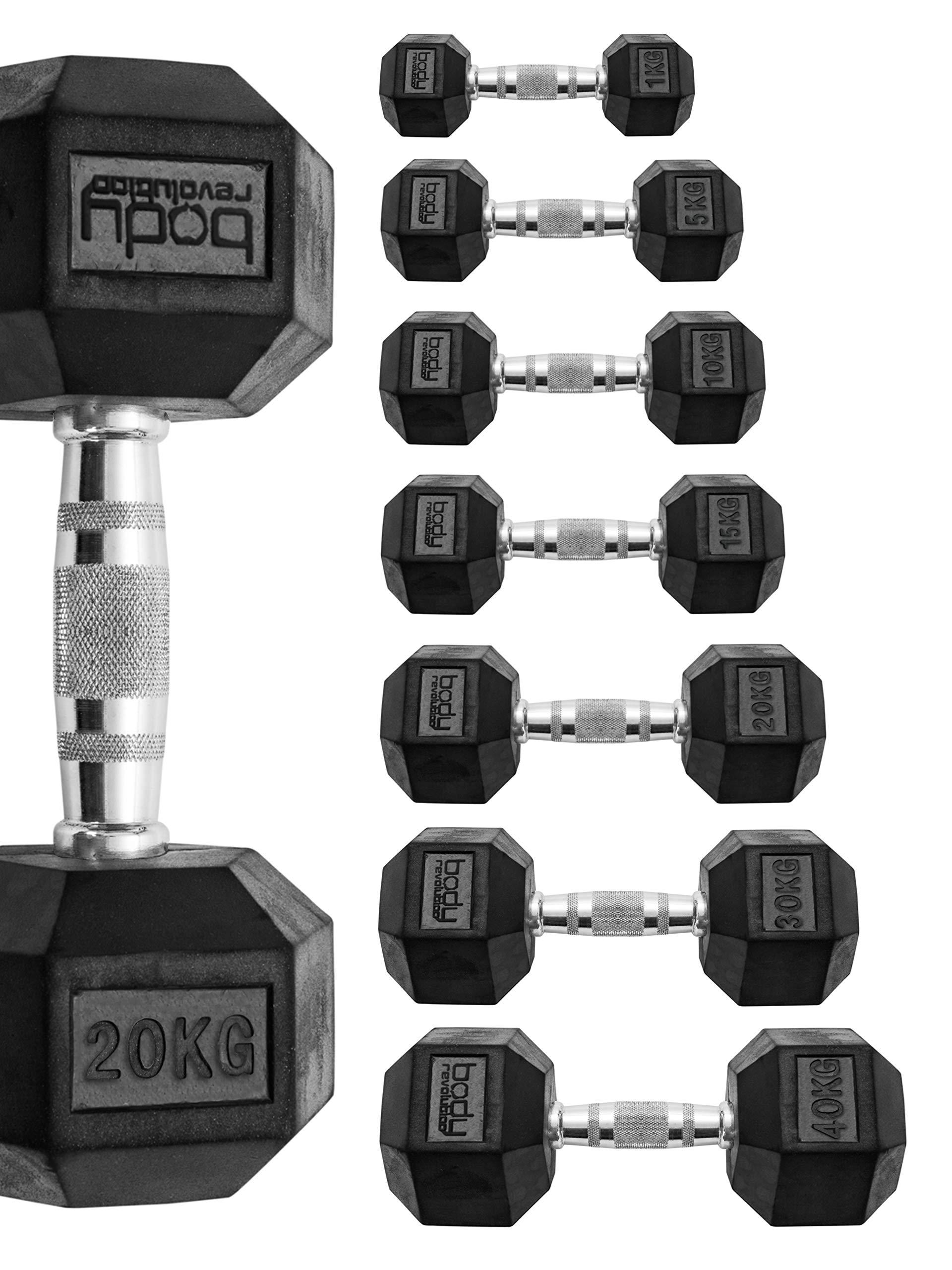 Hex Dumbbells 10kg//15kg//20kg Pairs Cast Iron Rubber Encased Home Gym Weight Set