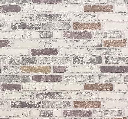 erismann 6703 10 papier peint en vinyle texture en relief motif brique gris
