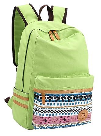 4eaff1425e08 HAPPYTIMEBELT Double Zipper Snowflake Pattern School Backpack Children Book  Bag(Green)
