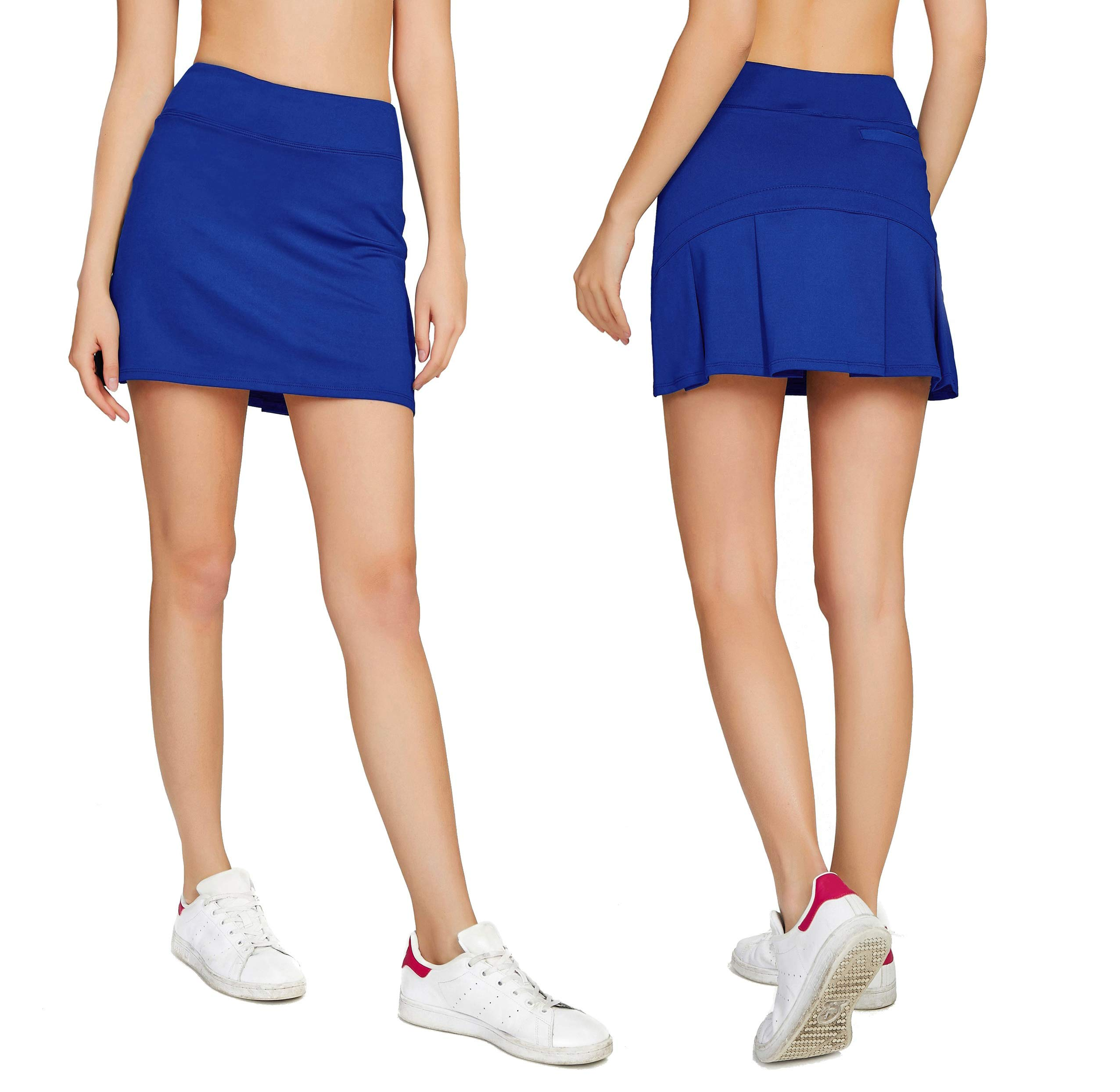 Women's Casual Pleated Tennis Golf Skirt with Underneath Shorts Running Skorts bu xs Blue