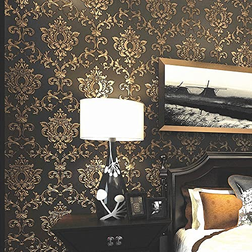 Blooming Wall Non Woven Elegant European Flocking Embossed Textured Damasks Wallpaper Wall Mural Wallpaper