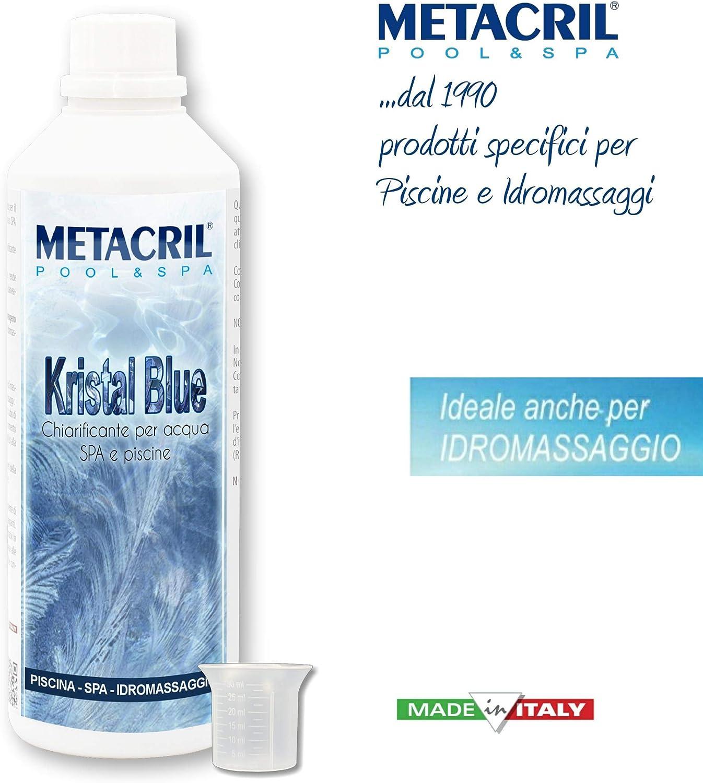 Metacril Floculante y aclarante a Base Natural – Kristal Blue 500 ml + dosificador – Ideal para Piscina o hidromasaje (Teuco, Jacuzzi, Intex,Bestway, etc.)