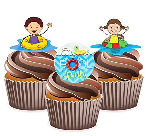 Swimming kids pool party cake decorations 12 edible stand up swimming kids pool party cake decorations 12 edible stand up cupcake toppers sciox Choice Image
