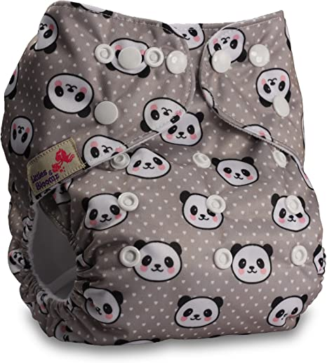 Fastener: Popper Littles /& Bloomz Patterns 421 Reusable Pocket Cloth Nappy Set of 4 with 4 Bamboo Charcoal Inserts
