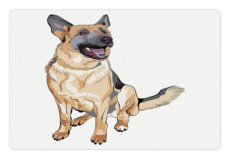Amazoncom Lunarable German Shepherd Pet Mat For Food And Water