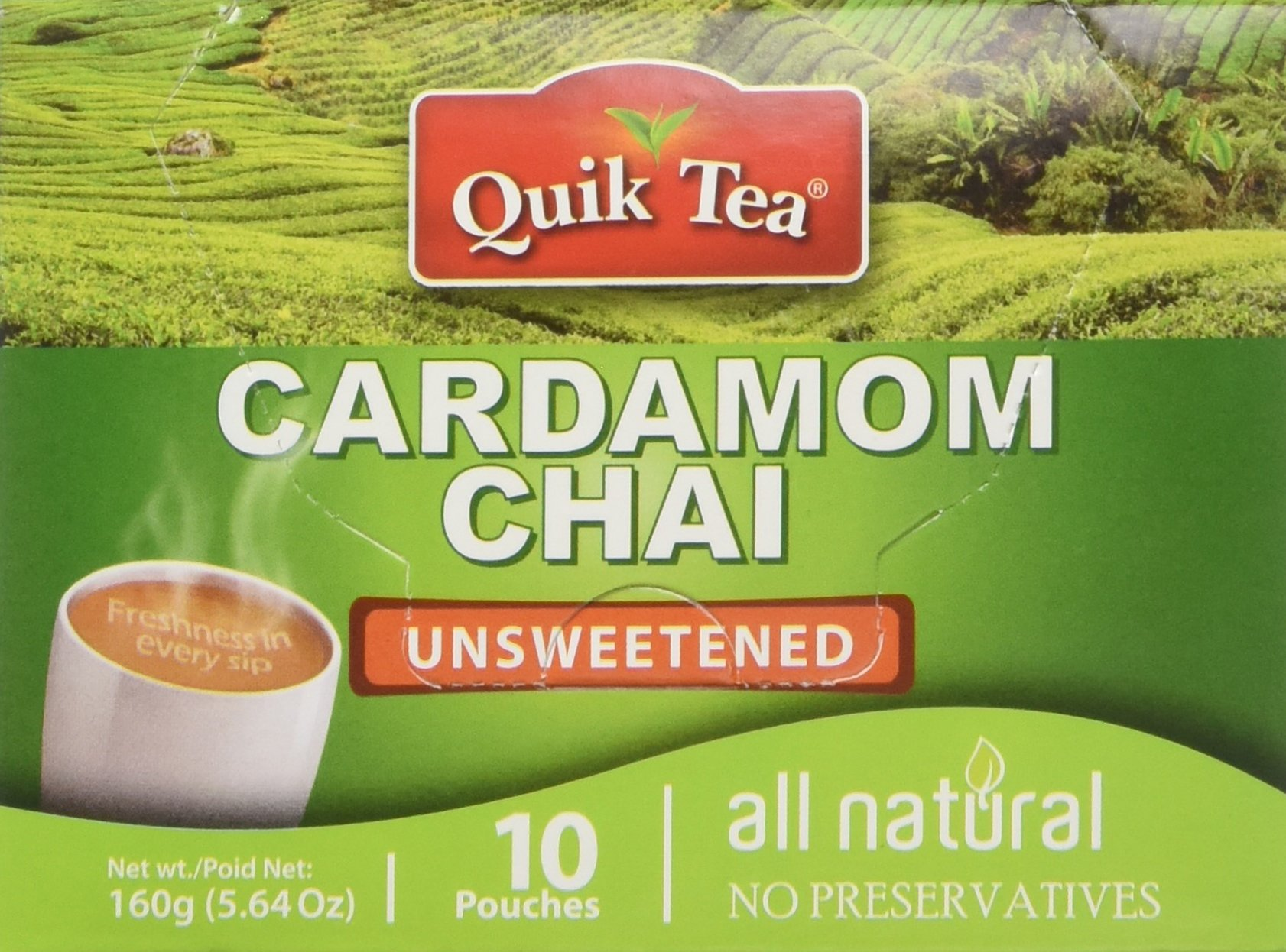 QuikTea Unsweetened Cardamom Chai, 40 count (4 boxes of 10 each) by QuikTea