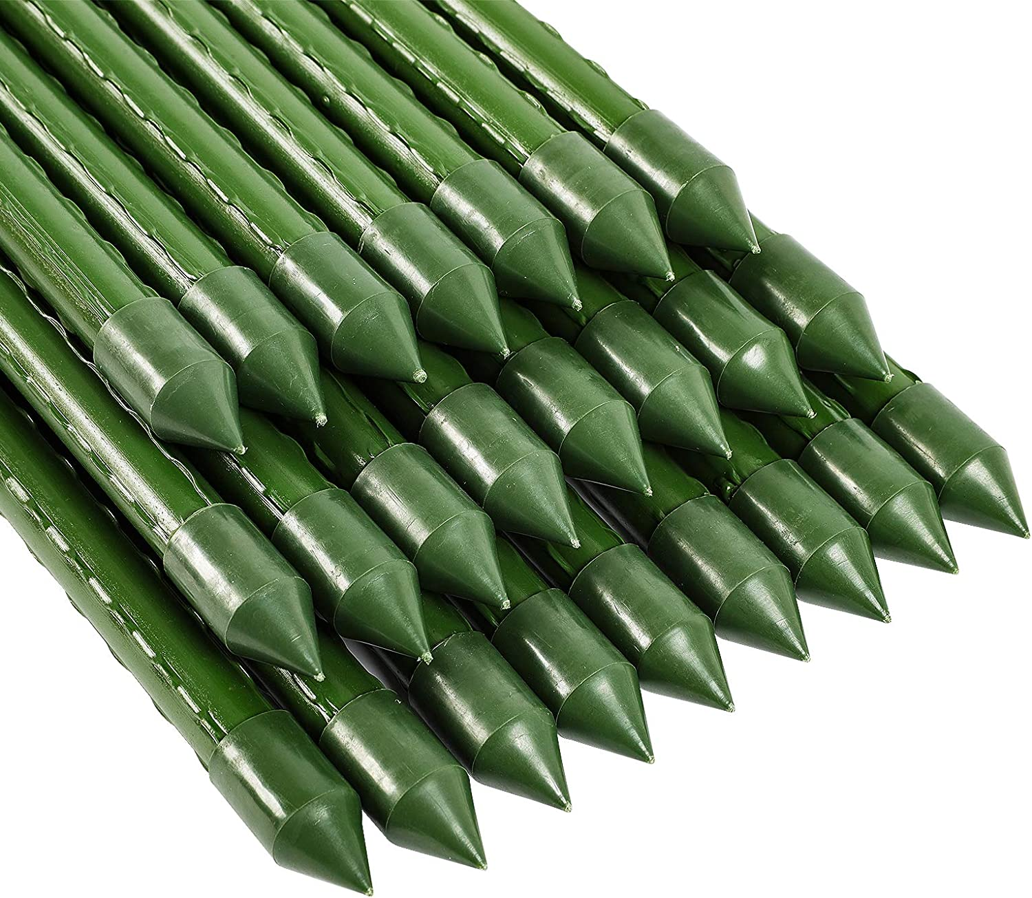 FEED GARDEN Garden Stakes 72 Inch 6ft 25 Pack,Sturdy Plant Metal Sticks Support,Plastic Coated Plant Stakes,Tomato Stakes,Beans,Trees