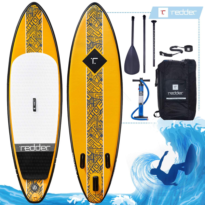 REDDER Tablas Paddle Surf Hinchables ROUGE Doble Capa 9 Surf Tabla Stand Up Paddle - KIT con Bravo SUP3 Inflador, Carbono y Fibra de Vidrio Pala Ajustable ...