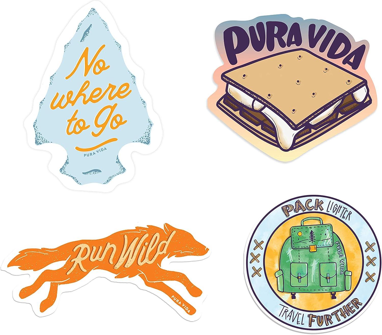 Pura Vida Run Wild Sticker Pack - Exclusive Colorful Design, Adhesive Accessories - 4 Pieces