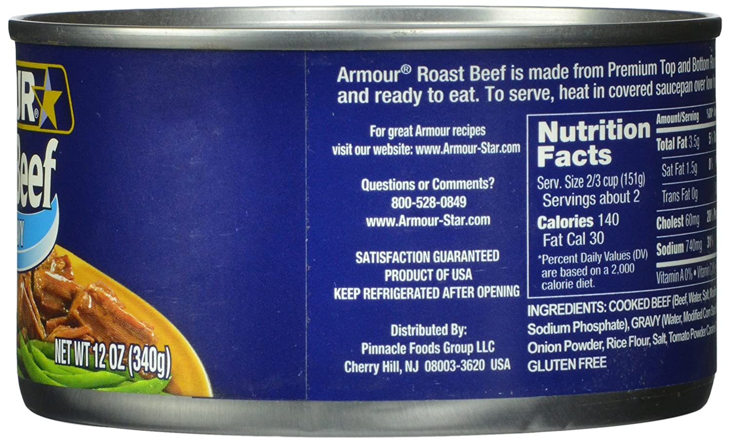 Amazon.com : Armour Roast Beef, 12-Ounce (Pack of 4) : Canned And Packaged Meats : Grocery & Gourmet Food