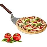 Relaxdays Pizzaheber mit Holzgriff aufhängbar, Schaufelmaß von 18,5 x 16,5 cm zum Herausnehmen von Pizza, Flammkuchen, anthrazit