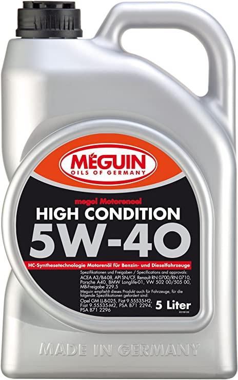 Meguin 3198 del aceite del motor Megol SAE 5W-40 High Condiciones, 5 litros