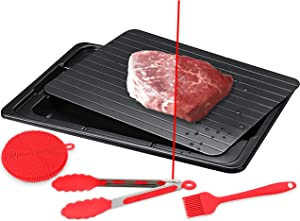 Defrosting Tray For Rapid Thaw Frozen Foods - FROST-NO Quick Food Defrost Meat Thawing Plate With Silicone Sponge And Brush - Defroster Meat Thaw Master Tray With Multi-Purpose Plastic Drip