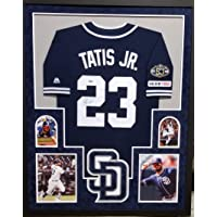 $449 » Fernando Tatis Jr San Diego Padres Autograph Signed Custom Framed Authentic Jersey Blue Suede Matted 4 Picture JSA Signature Debut…