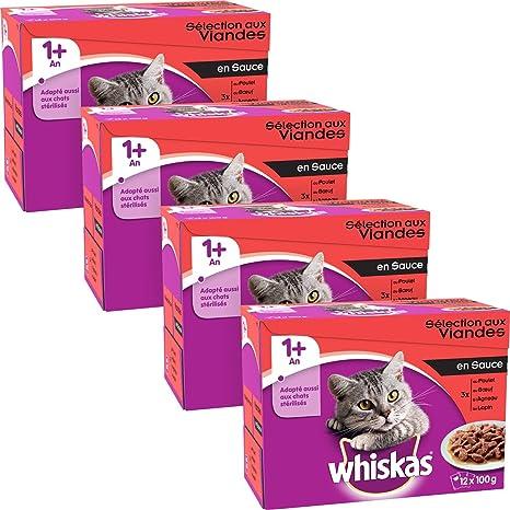 whiskas - Alimento húmedo para Gatos, con Carne y Pescado en Salsa, envasado en