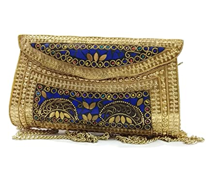 845fc8ebc0 Golden Frame Blue stone purse women clutches Girl ethnic bags vintage clutch  Metal clutches: Amazon.in: Clothing & Accessories