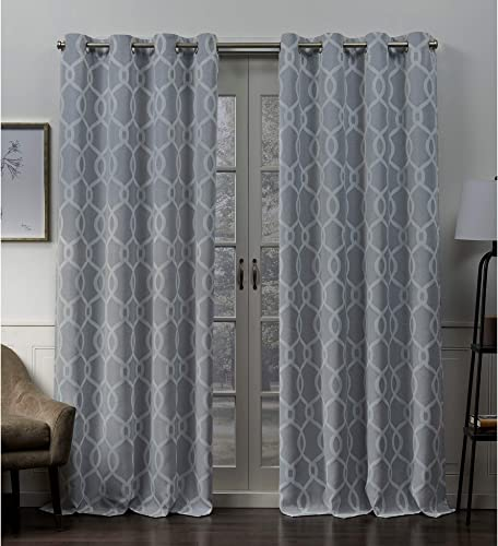 Exclusive Home Curtains Trilogi Geometric Woven Blackout Grommet Top Curtain Panel Pair, 52×84, Chambray Blue