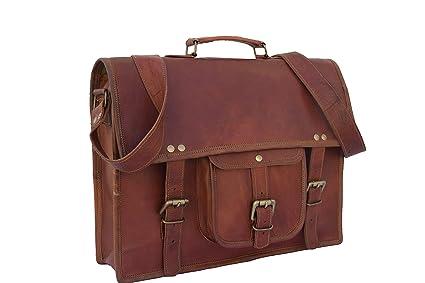 15 Mens Hand-Crafted Messenger Genuine Leather Briefcase Satchel Laptop Shoulder Bag