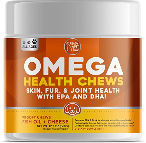 Ready Pet Go Omega 3 for Dogs – Dog Shedding, Skin Allergy, Itch Relief, Mange and Hot Spots Treatment – EPA DHA – Natural Joint Supplement for Dogs, Heart and Brain Health – 90 Fish Oil Soft Chews