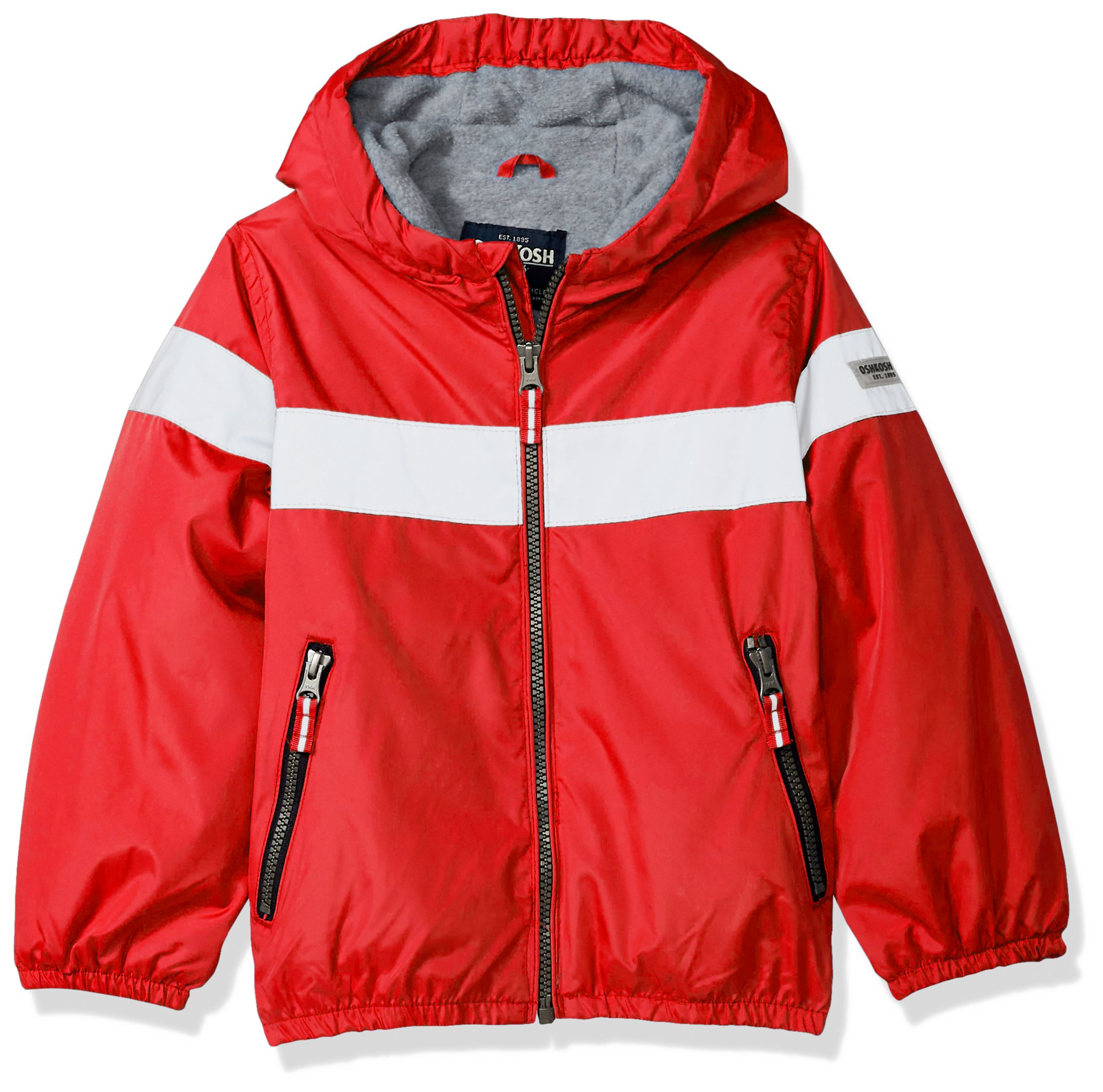 Osh Kosh Boys' Little Midweight Active Fleece Lined Jacket, red, 5/6 by OshKosh B'Gosh