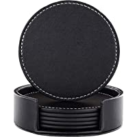 Coasters for Drinks, Black Leather Coasters Set of 6 with Holder,Protect Furniture from Damage