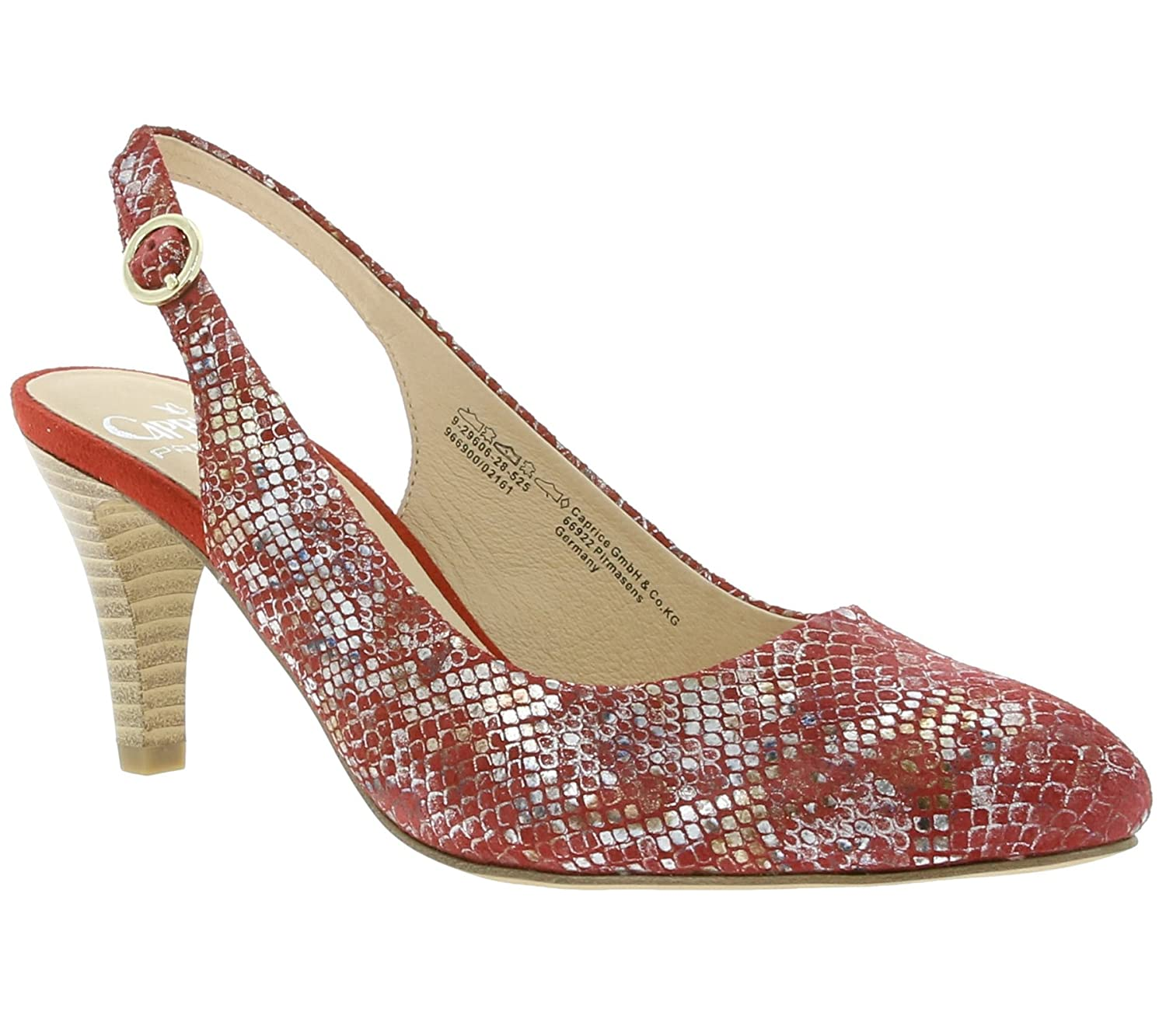 on sale 61ca6 2dc38 CAPRICE Reptile Women's Real Leather Pumps Red 9-29606-28 ...