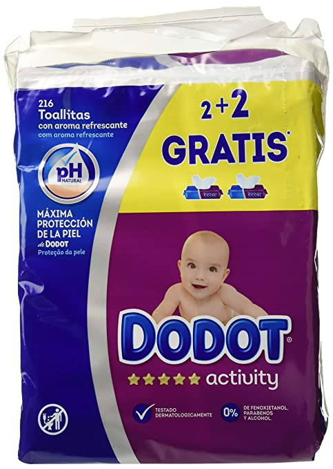Toallitas Dodot Activity, Pack of 3 x 4 (648 toallitas)