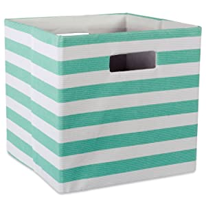 DII Foldable Fabric Storage Container for Nurseries, Offices, Closets, Home Décor, Cube Organizer & Everyday Use, 11 x 11 x 11, Stripe Aqua, Small