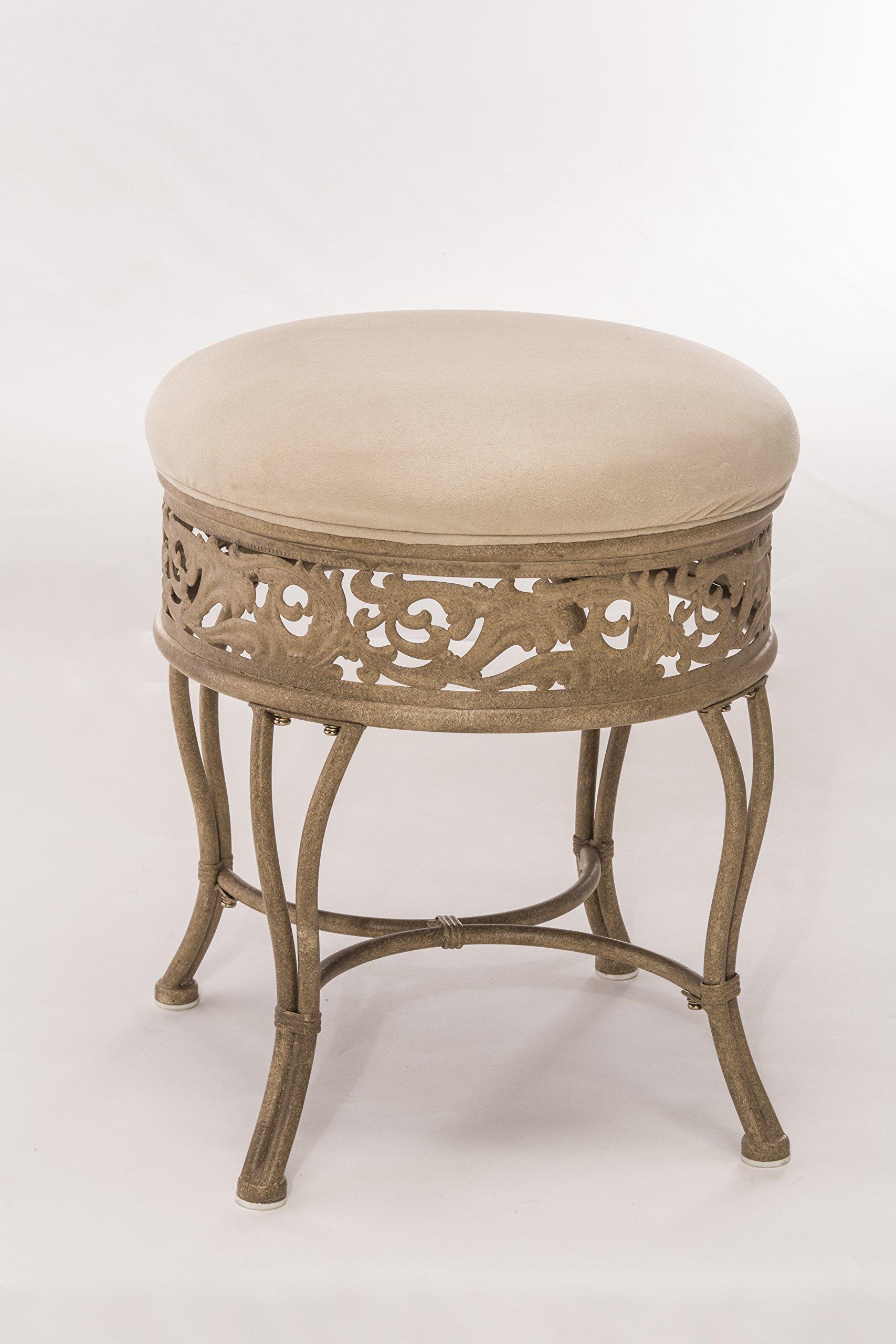 Hillsdale Furniture Villa III Upholstered Backless Vanity Stool, Antique Beige
