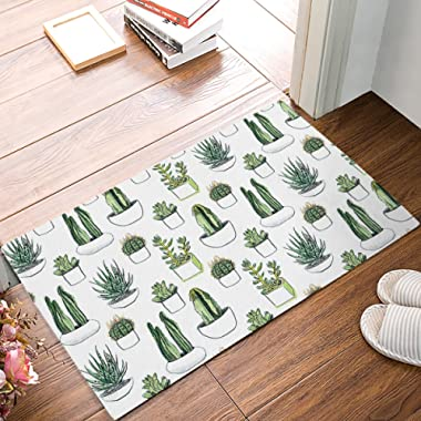 HomeCreator 32 x 20 Inch Green Cactus Flower Succulents Aloe Door Mats Kitchen Floor Bath Entrance Rug Mat Absorbent Indoor Bathroom Decor Doormats Rubber Non Slip