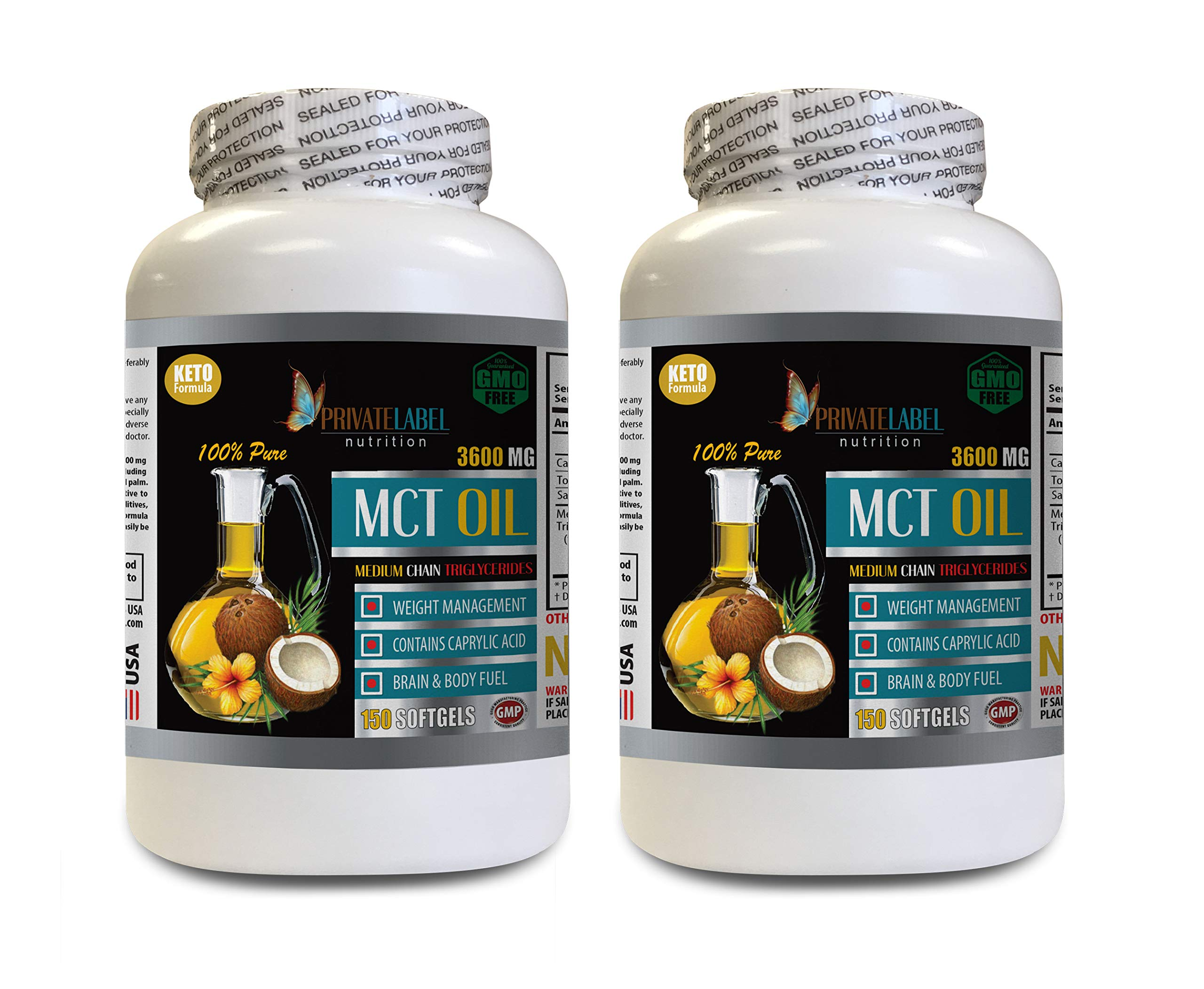 Appetite suppressant Energy Booster - MCT Oil 3600MG - Medium Chain TRIGLYCERIDES - mct Oil Supplement softgels - 2 Bottles 300 Softgels