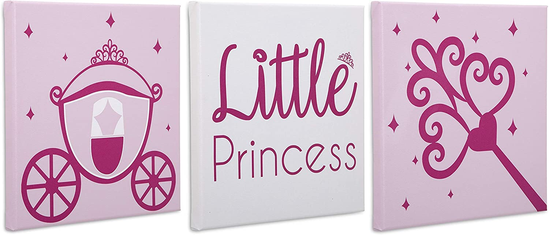 """Delta Children 3-Piece Canvas Wall Art Set for Girls 12""""x12"""", Princess"""
